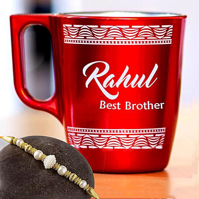 Golden Pearl Rakhi and Personalised Engraved Mug