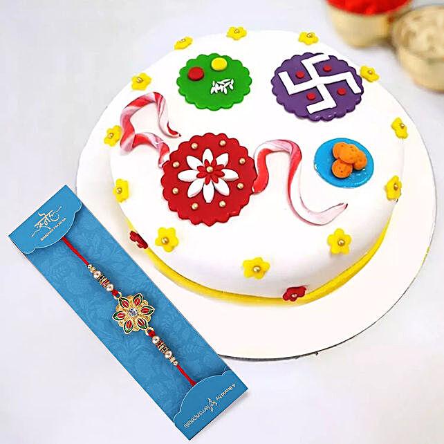 Golden Pearl Rakhi and Rakhi Theme Cake:Rakhi With Greeting Cards to UAE