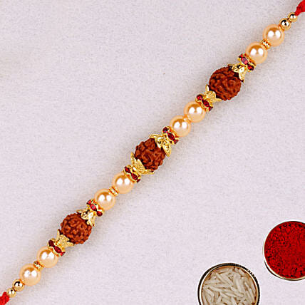 Golden Red Beaded Rudraksh Rakhi