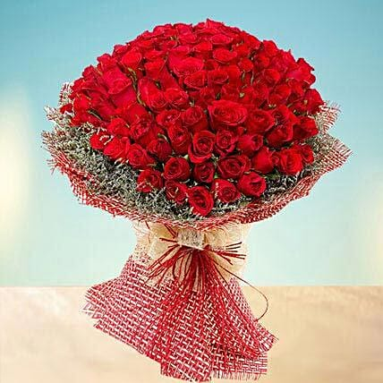 Grand 100 Red Roses:Mother's Day Flower Bouquets to UAE