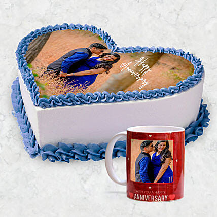 Heart-shaped Photo Cake with Coffee Mug Online:Photo Cake Delivery in UAE