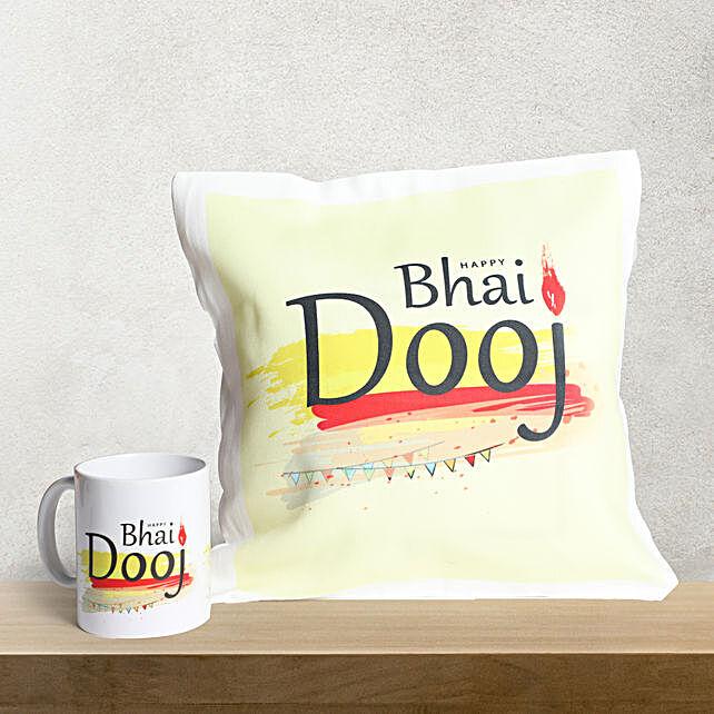 Happy Bhai Dooj Mug n Cushion Combo