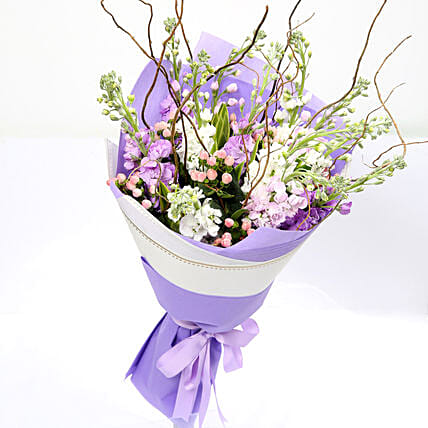 Hypericum and Lavender Mixed Bouquet