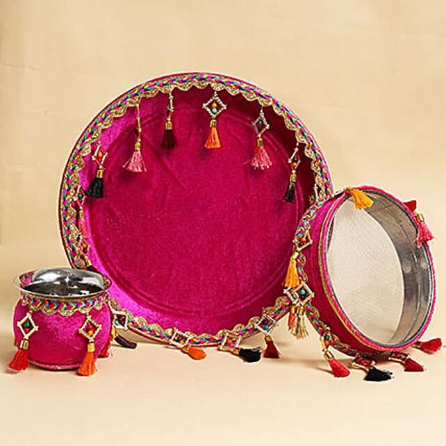 Karwa Chauth Maroon Thali Set With Tassels