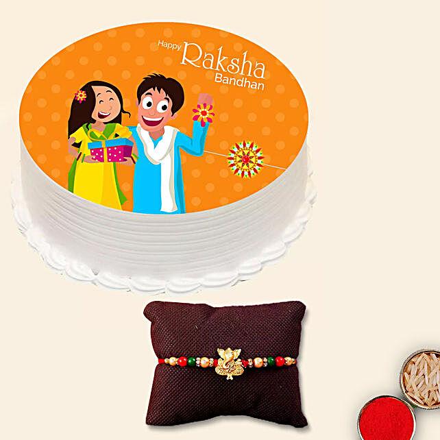 Meena Thread Rakhi and Rakshabandhan Cake
