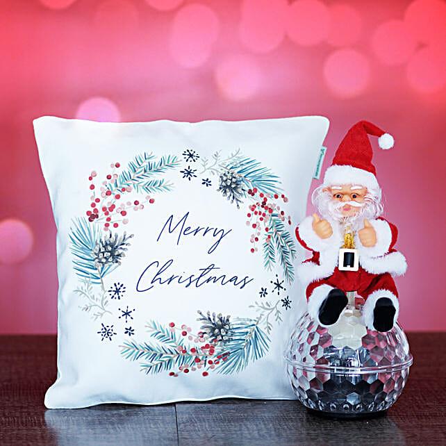 Merry Christmas Cushion with Santa Toy
