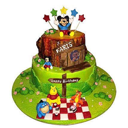 Mickey Mouse and Winnie the Pooh Cake:Mickey Mouse Cake Delivery in UAE