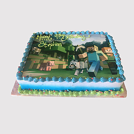 Minecraft Game Photo Cake:Designer Cake Delivery in UAE