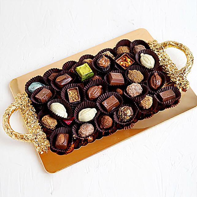 Mixed Belgium Chocolate 1KG in Tray:Anniversary Gift Hampers to UAE