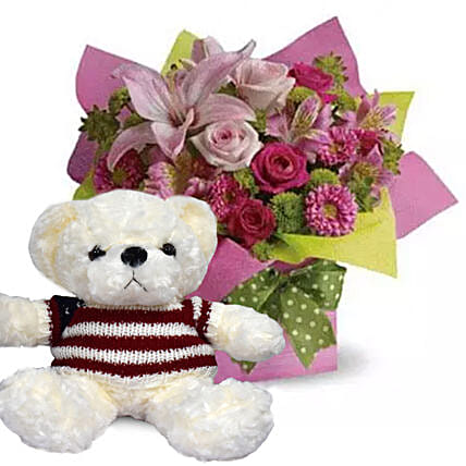 Mixed Flower Arrangement and Teddy Combo:Flowers and Teddy Bears to UAE