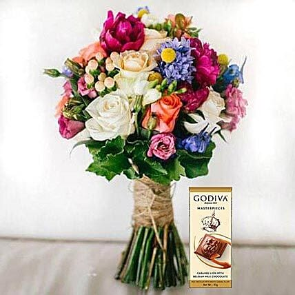 Mixed Flowers Bouquet and Chocolate Combo:Flowers and Chocolates Delivery in UAE