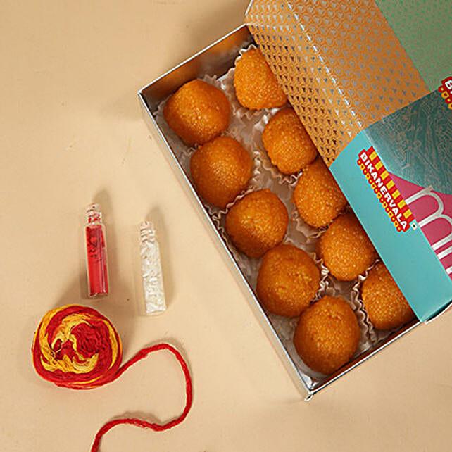 Motichoor Laddoo With Roli and Chawal:Bhai Dooj Gift Delivery in UAE