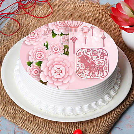 New Year Wishes With Blossoms Cake:Send Chinese New Year Gifts to UAE