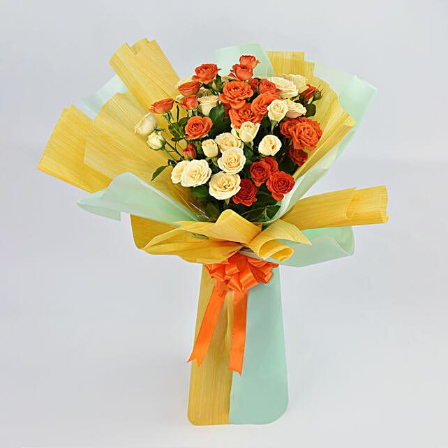 Orange and Peach Roses Bouquet:Send Roses to UAE