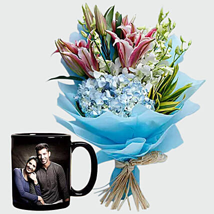 Oriental Lilies Bouquet and Personalised Mug:Personalized Gifts Dubai UAE
