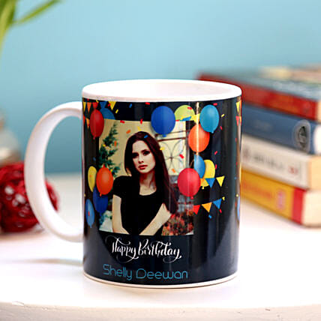 Personalised Birthday Balloons Mug:Send Birthday Gifts to UAE