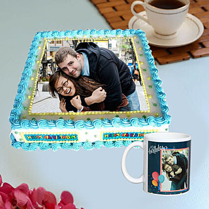 Online Photo Cake with Personalised Mug:Photo Cake Delivery in UAE