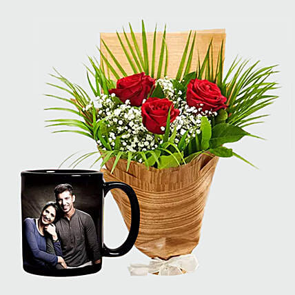 Personalised Mug and Red Roses:Anniversary Gifts  to UAE