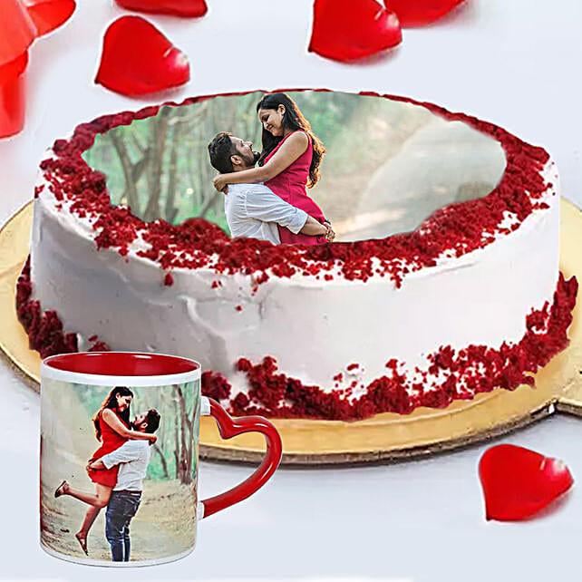Order Red Velvet Photo Cake with Mug Online:Personalized Gifts Dubai UAE