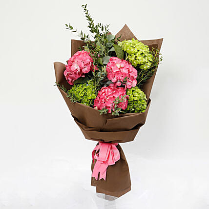 Pink and Green Hydrangea Bouquet