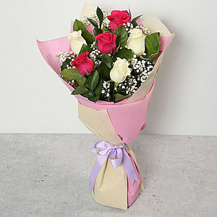 Pink and White Roses Bouquet