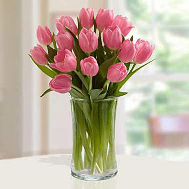 Pink Tulips Arrangement Premium