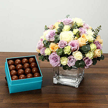 Purple and White Roses Array With Belgian Chocolates