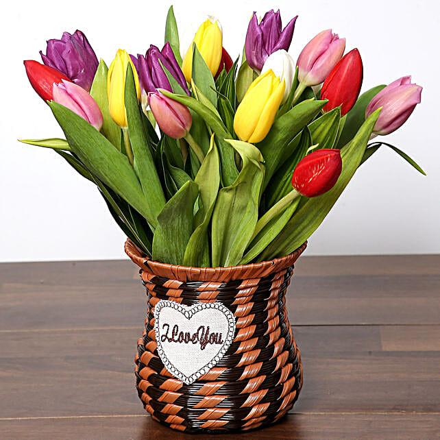 Quaint Mixed Tulips Basket