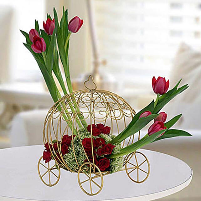 Radiant Rose N Tulips Flower Arrangement