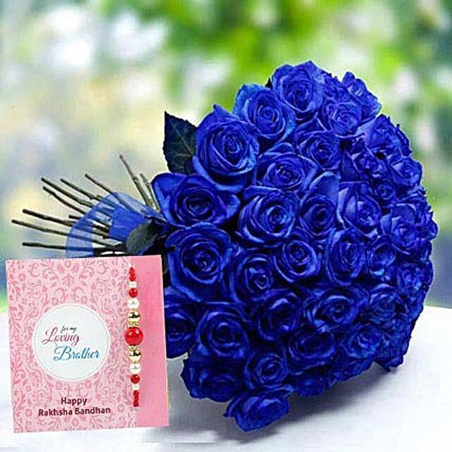 Rakhi with Blue Roses