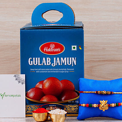 Raksha Bandhan Hamper Gulab Jamun Tin And Rakhis:Send Ethnic Rakhi to UAE