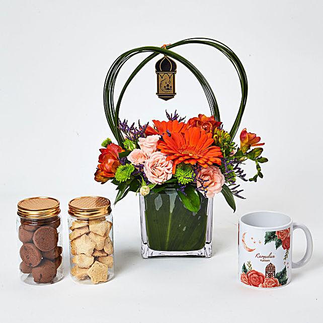 Ramadan Flower Arrangement With Mug N Cookies:Ramdan Gifts to UAE