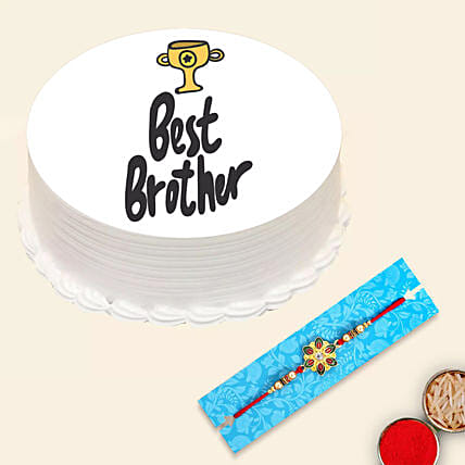 Red Pearl Rakhi and Best Brother Cake:Rakhi With Greeting Cards to UAE