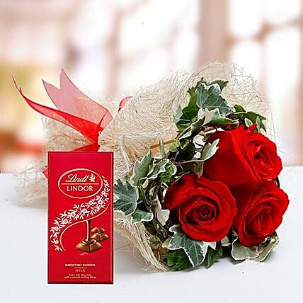 Red Roses Bouquet and Lindt Chocolate Combo:Flowers and Chocolates to Dubai