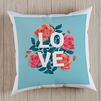 Rose and Love Printed Cushion