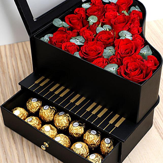 Roses and Chocolates Black Heart Box