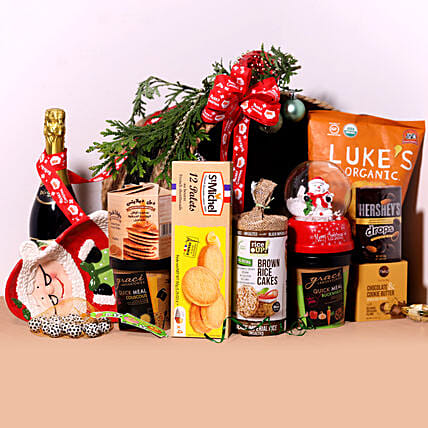 Sparkling Juice And Snack Hamper:Christmas Gift Baskets to UAE