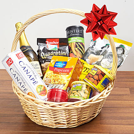 Sparkling Juice And Snacks Basket