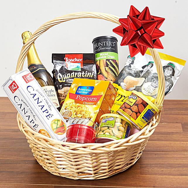 Sparkling Juice And Snacks Basket:Valentine Gift Baskets to UAE