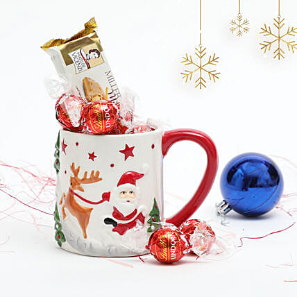 Treats in Embossed Mug:Christmas Gift Delivery in UAE