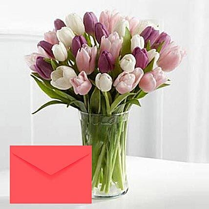 Tulips Vase Arrangement With Greeting Card