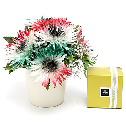 UAE Flag Flower Arrangement with Patchi:Send National Gifts to UAE