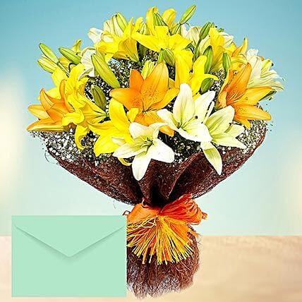 Mixed Lilies Bouquet With Greeting Card