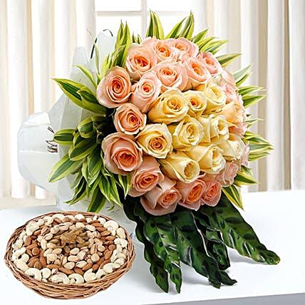 Bunch Of Roses and Dry Fruits Combo:Flowers and Dry Fruits Delivery in UAE
