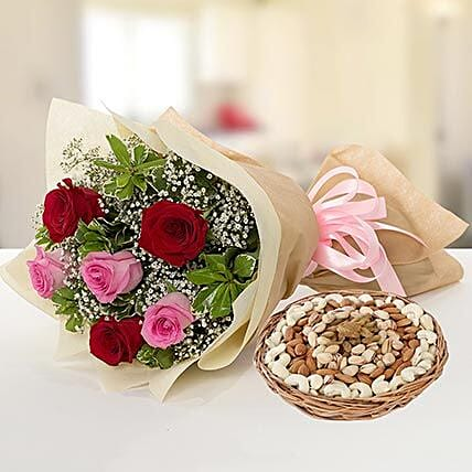 Captivating Roses Bouquet and Dry Fruits Combo