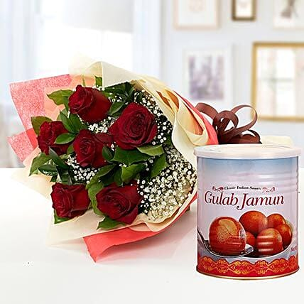 Red Roses Bouquet and Gulab Jamun Combo:Flowers and Sweets Delivery in UAE