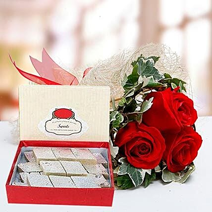 Red Roses Bouquet and Kaju Katli Combo:Flowers and Sweets to Dubai