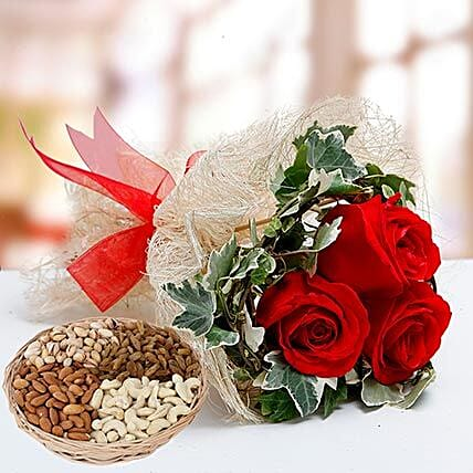 Velvety Rose Bouquet and Dry Fruits Combo:Flowers and Dry Fruits Delivery in UAE