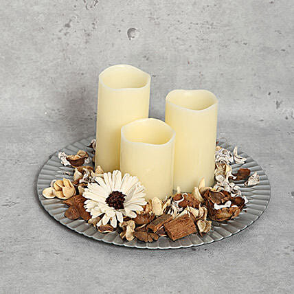 White Candles and a Plate