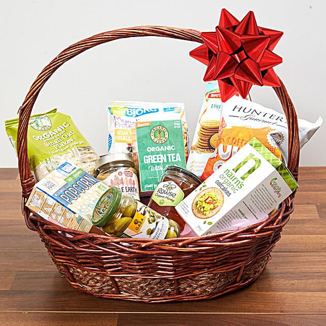 Mint Green Tea And Snacks Basket:Dubai Gift Basket Delivery